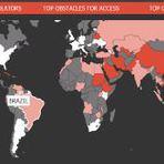 Internet - Mapa interativo mostra a censura na internet ao redor do mundo