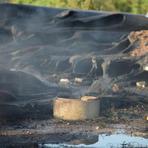 Pintura - Bombeiros controlam fogo em Estação de Tratamento de Esgoto de Itajaí