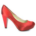 Sapatos de salto alto grosso vermelho