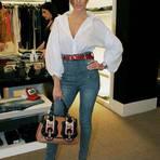Calças jeans de cintura alta feminina