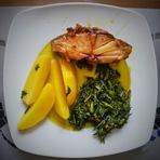 Culinária - Bacalhau confitado com agrião salteado e batatas cozidas!