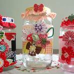 Hobbies -   Aplicações de Tecido em Potes de Vidros