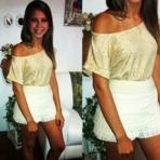 Shorts de renda com blusa de cetim