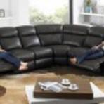 Sofá de canto de couro preto