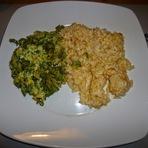 Culinária - Arroz de farinheira c/ ovos mexidos com aspargos