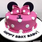 Culinária - Um bolo de menina bem colorido da Minnie