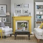 Arquitetura e decoração - Salas de estar – cinza & amarelo