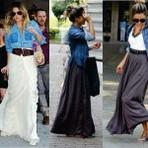 Diversos - Camisa jeans e saia longa para a moda