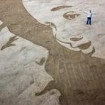 Fotos - Os originais e maiores desenhos sobre areias a beira mar - criados por Jamie Wardley