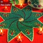 Outros - Centrinho Estrela com Velinhas - Crochê de Natal