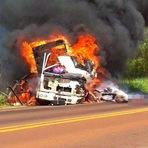 Caminhoneiro e animais morrem carbonizados em acidente na PR-323 em Tapejara-Video