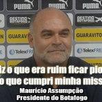 Presidente do Botafogo joga clube no fundo do poço