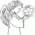 Desenhos de Natal para Colorir Anjos Variados