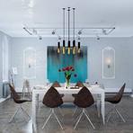Sala de jantar decorada, moderna e clássica
