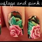 Tutoriais - COMO DECORAR UNHAS Camouflage & Pink Roses nail art