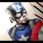 Vídeo passo a passo de um desenho realista do Capitão América