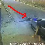 Câmera de segurança filmou o momento exato quando uma mulher é arremessada por carro no Ceará