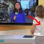 Âncora do jornal da Globo de MG deixa etiqueta da roupa a mostra ao vivo