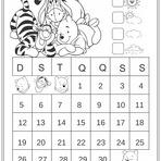 Calendários Abril 2015 Turma do Ursinho Pooh para Colorir