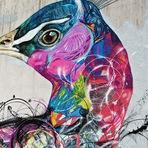 As belas pinturas murais de pássaros do artista L7M