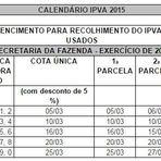 SEFAZ divulga calendário de IPVA 2015