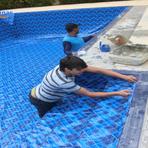 Instalação de vinil em piscina de azulejo