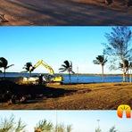 Arena que é palco das competições de futebol de areia e o futebol dos artistas está sendo montada no Lagamar.