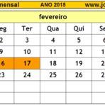 Calendários de Fevereiro de 2015 com Feriados