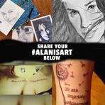 Alanis Morissette quer ver as artes, tatuagens e criações no Facebook