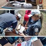 Fiat Doblo é flagrado com centenas de caixas de cigarros contrabandeado em frente ao Heliporto, um homem foi detido.