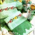 Outros - Toalha de banho, com crochê e Ponto Cruz - com gráficos