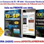 Empregos - Apostila TJSP 2015 -  Escrevente Técnico Judiciário Concurso Tribunal de Justiça do Estado de São Paulo