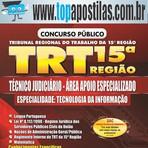 Apostila Impressa Concurso TRT-15ª Região -Técnico Judiciário - Área de Apoio Especializado  [+CD Grátis]