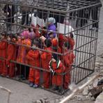 Imagens chocantes - Terroristas do Estado Islâmico colocam crianças em gaiolas