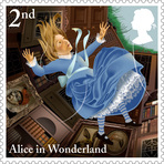 Selos comemorativos dos 150 anos de Alice no País das Maravilhas