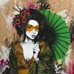 Arte urbana de retratos femininos em estêncil de Fin DAC