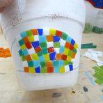 Passo a passo - Vaso decorado com mosaico
