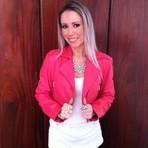 Jaqueta de couro rosa