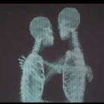 O público se surpreende com casal que se beija atrás de uma tela