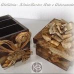Outros - Caixinha Decorativa Multiuso e Porta Contole Remoto (Peças Rústicas)