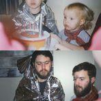 A recriação de fotografias de infância dos irmãos Luxton