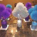 Faça decoração de festa Frozen usado vidro reciclado