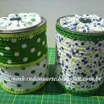 Aproveite as latas decorando com tecido