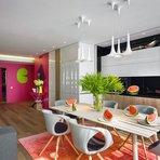 Decoração colorida e descolada para um apartamento de família
