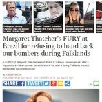 Thatcher ameaçou Brasil por apreender avião durante guerra das Malvinas