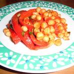 Culinária - Pimentões vermelhos na frigideira c/ grão-de-bico!